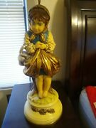 Vtg Mid Century Homo Chili Gold Gilted Chalk Ware Figurine Table Lamp's Pair