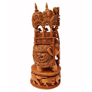 Ambabari Elephant Hand Carved Sandal Wood Sculpture Statue Home Décor Gift Us20