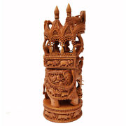 Ambabari Elephant Hand Carved Sandal Wood Sculpture Statue Home Décor Gift Us21