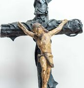 Large Antique Polychrome Carved Wooden Religious Altar Corpus Christi Crucifix.