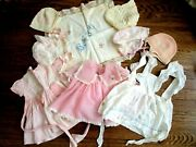 Baby Clothing Accessories Blanket Mixed Lot Vtg 30s-60s Dress Hat Apron Doll