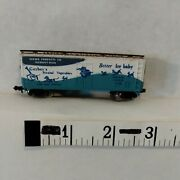 N Scale Freight Car 40' Box Wood Gsvx Gerber Blue And White Bachmann Exc