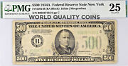 1934 500 Bill Federal Reserve Note New York Pmg Vf25 Fr.2202-b