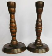 2 Antique Vintage Wooden Candle Sticks Holders Pair 7 Tall Turned Wood Treen