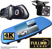5 Mon 300mm Blue Tint Rearview Mirror 1080p Hd +front Back Dash Cam Carmera G33