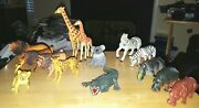 Mixed Lot Of 14 Large Plastic Wild Animals Figures L 6 1/2 X W 3 X H 7 Inches