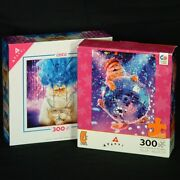 Cat Jigsaw Puzzles 300 Piece Lot Of 2 Disco Ball Showgirl By Ceaco Avanti New