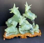 Asian Chinese Green Jade Carved Herd Of Goats On Wooden Base 10.25andrdquo High