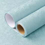 15.7x 118 Blue Wallpaper Embossed Thicken Self-adhesive Removable Wallpaper