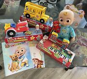Cocomelon Toy Bundle Jj Bedtime Doll Keyboard Tractor,school Bus And 2 Abc Books