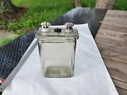 Vintage/antique Clear Glass Exide Battery Jar And Lid With Post W Acorn Fastener