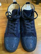 Men.s Christian Louboutinandrsquos Louis Orlato Navy Blue W/ Crystals Size 45 Worn Once