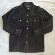 Rare Vtg Strauss Black Suede Leather Snap Jacket Menand039s Size Xl Euc