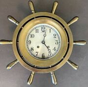 Chelsea Ship Bell 14 Ships Wheel Clock -- Restored And Functional