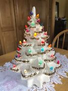 Vintage Ceramic Christmas Tree White W Gold Colorful Lights Beautiful