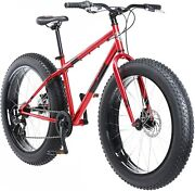 Mens Fat Tire Mountain Bike Red Frame 26 In Wheels Mongoose Dolomite 7 Speed