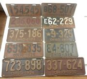 1922-1930 Ohio Car Truck License Plates - Lot Of 10 Plates - 1928 9-325 T147d