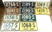 1941-1950 Ohio And039sand039 Car Truck License Plates - Lot Of 15 Plates / 5 Pairs T27a