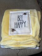 Rae Dunn Bee Happy Yellow Throw Blanket 50x60 Nwt Spring Couch Warm Quick Ship