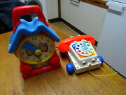 Vintage Fisher Price Clock And Chatter Phone