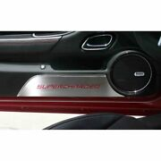 Stainless Door Kick Plates W/bright Red Supercharged Inlay For 2010-15 Camaro