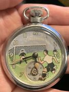 Ingersoll Automaton Football Pocket Watch Eagle Back Runs Made In Gb