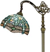 Style Reading Floor Lamp Sea Blue Stained Glass Crystal Bead Dragonfly
