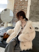 2020winter Korean Style Fox Fur Coat Womenand039s Mid-length Fashionable Leather Coat