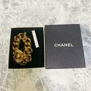 Auth Vintage Cc Logo Chunky Chain Bracelet Gold 94p New From Japan F/s