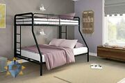 Twin Over Full Bunk Bed Metal Frame Ladder Space-saving Design Twin Size Full