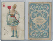 N457 Trumps Long Cut, Playing Cards, Blue Back, 1890, Heart Queen