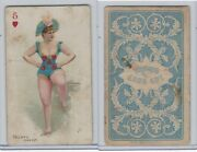 N457 Trumps Long Cut, Playing Cards, Blue Back, 1890, Heart 5