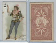N457 Trumps Long Cut, Playing Cards, Brown Back, 1890, Club Ace