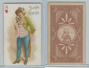 N457 Trumps Long Cut, Playing Cards, Brown Back, 1890, Heart 8