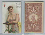 N457 Trumps Long Cut, Playing Cards, Brown Back, 1890, Heart Queen