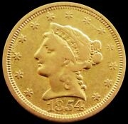 1854 O Gold United States Liberty Head 2.5 Quarter Eagle Coin New Orleans Mint