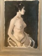 Moses Soyer Oil On Canvas Female Nude Original Signed M Soyer 1899-1974