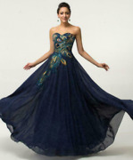 Free Pandp Plus Size Peacock Evening Long Prom Bridesmaid Dress Formal Ball Gowns