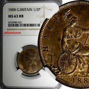 Great Britain Victoria 1837-1901 Bronze 1888 1/2 Penny Ngc Ms63 Rb Km 754