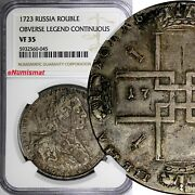 Russia Peter I Silver 1723 Ok Rouble Ngc Vf35 Only 2 Graded Highest Rare Km162.3