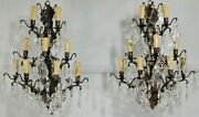 Magnificent Pair Of Vintage French 9 Light Brass And Crystal Wall Light/sconces