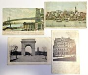 Vintage Postcard Lot Of 4 Very Old Views Nyc Antique Postcards Poor Condition