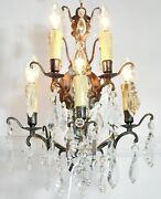 Superb Pair Of Vintage French 5 Light Brass And Crystal Wall Light/sconces