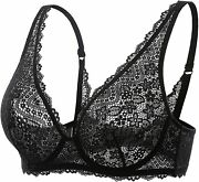 Dobreva Womenand039s Unlined Lace Bra Plunge Bralette Plus Size Sexy See Through Unde