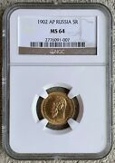 1902 Ms-64 Gold Coin 5 Roubles Graded Ngc Rubles Russian Imperial Antique Russia