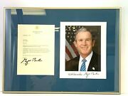 George W. Bush 2003 Signed Letter On White House Stationery W/photo