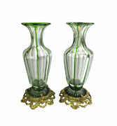 Pair Of Bohemian Glass Green Cut To Clear Vases With Gilt Bronze Bases - 19th C.