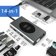 14 In 1 Rj45 Usb-c Adapter With Dual Hdmi Usb Wireless Charge 4k Vga For Macbook