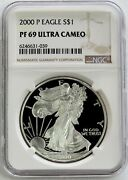 2000 P American Silver Eagle Proof 1 Dollar Coin Ngc Pf 69 Uc