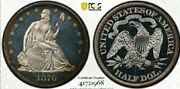 1870 Pr64 Seated Liberty Half Dollar. Hard Date/ Proof With Unbelievable Cameo.